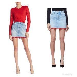 🌟Good American Pom Pom Mini Denim Skirt